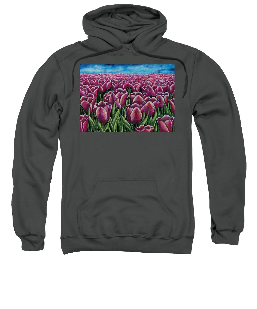 Tulips Sweatshirt featuring the painting 1000 Tulpis by Conni Reinecke