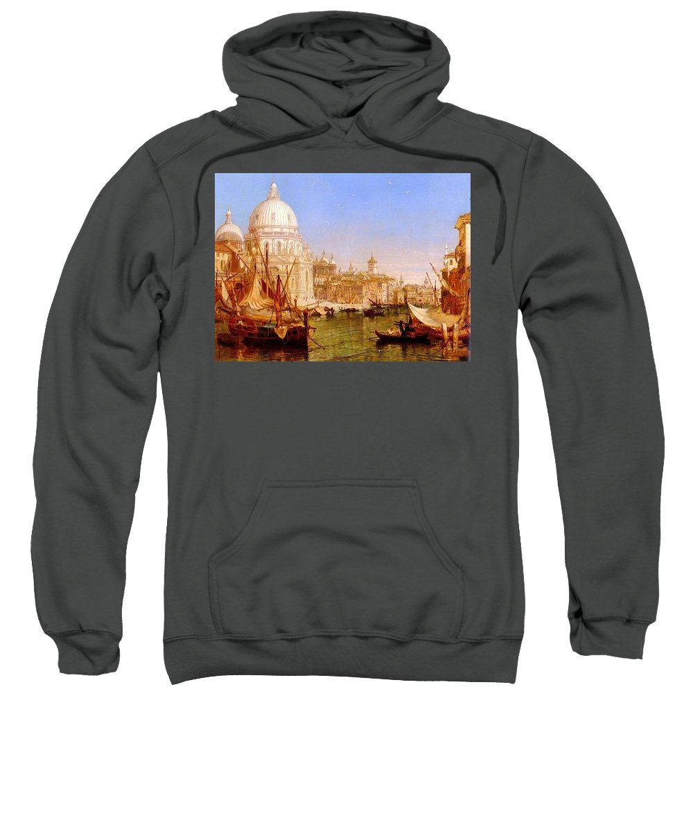 Temple Sweatshirt featuring the digital art selous Henry Courtney A View Along The Grand Canal With Santa Maria Della Salute Henry Courtney Selous by Eloisa Mannion