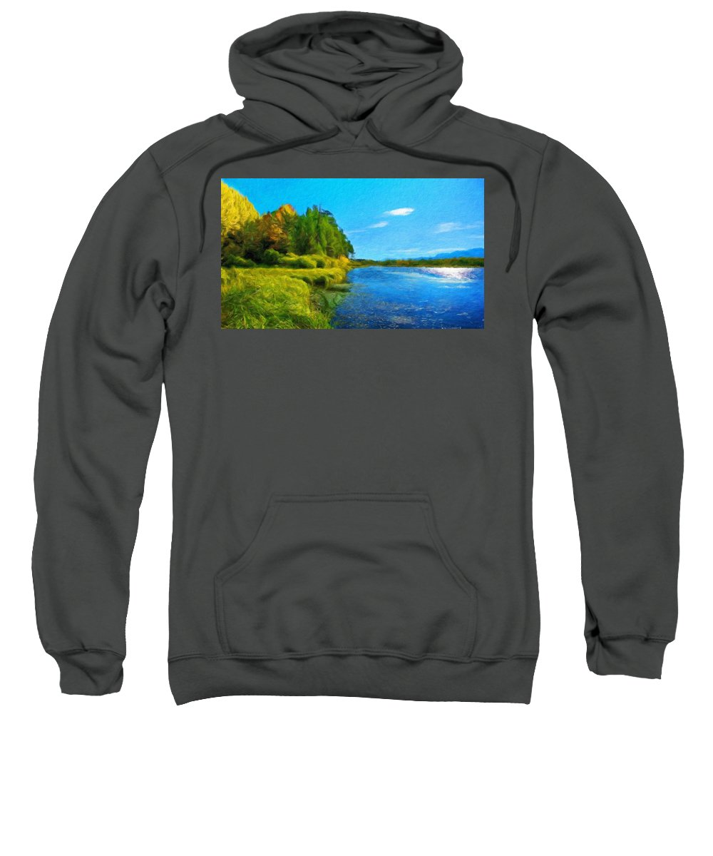Landscape Sweatshirt featuring the painting Nature Art Landscape Canvas Art Paintings Oil by World Map