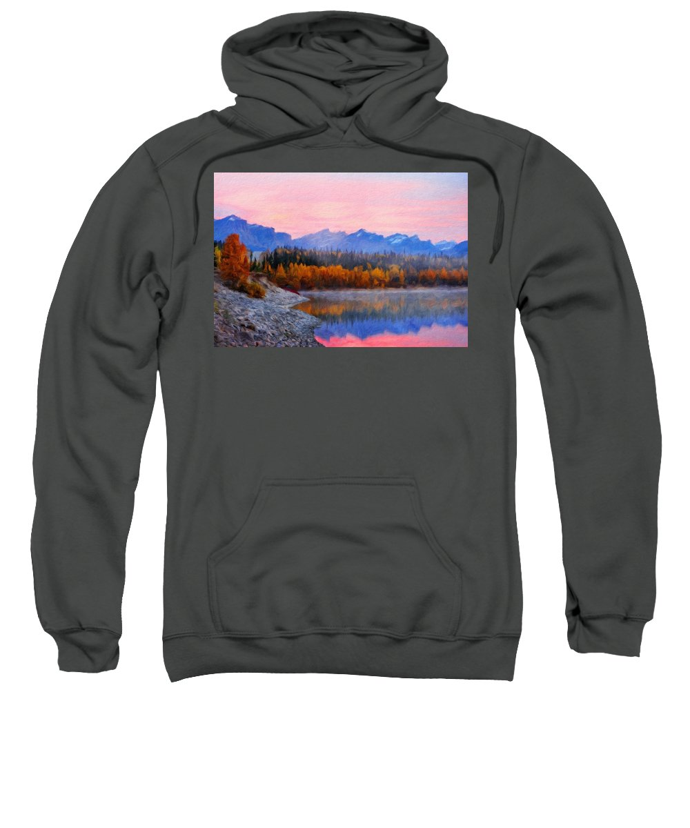 Landscape Sweatshirt featuring the painting Nature Art Original Landscape Paintings by World Map