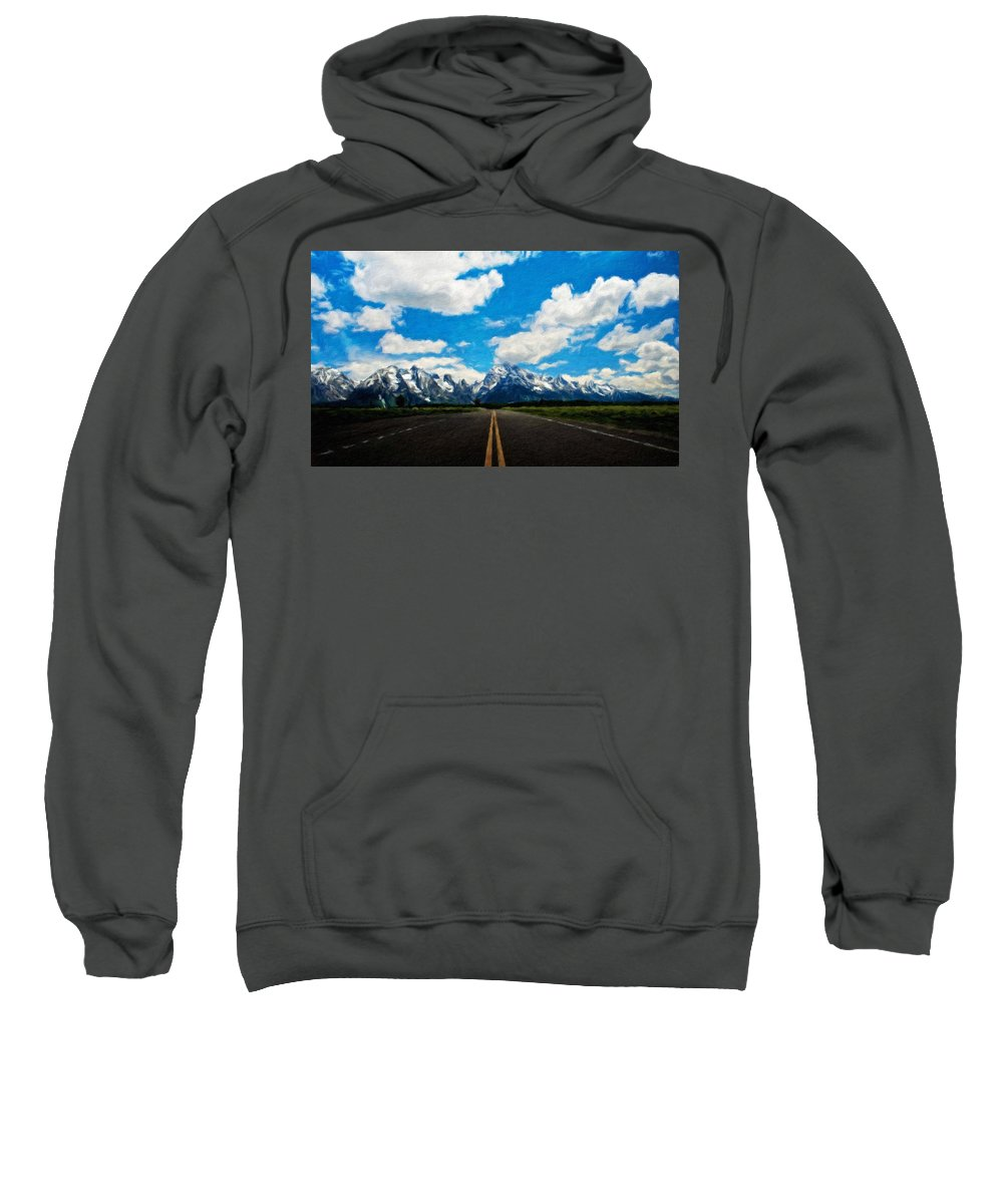Landscape Sweatshirt featuring the painting Nature Landscape Artwork by World Map