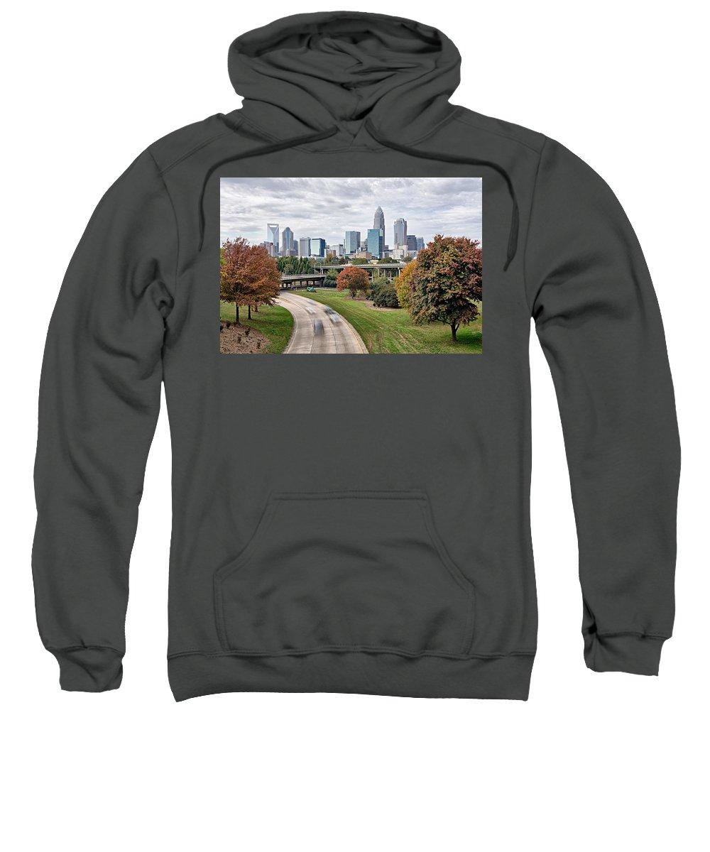 Charlotte Sweatshirt featuring the photograph Charlotte City North Carolina Cityscape During Autumn Season by Alex Grichenko