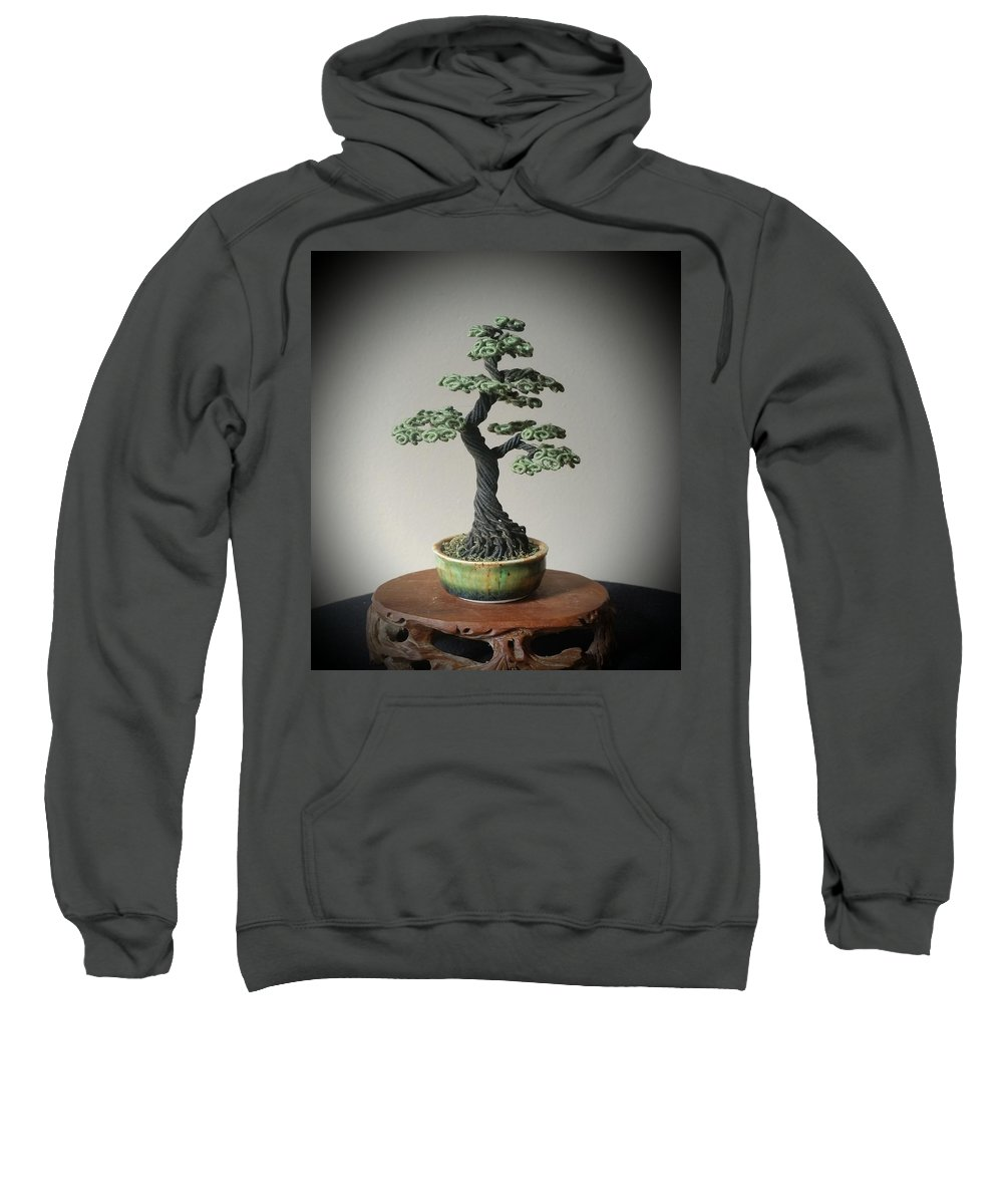 Bonsai Tree Sweatshirt featuring the sculpture #128 Cloth Wrapped Wire Tree Sculpture by Ricks Tree Art