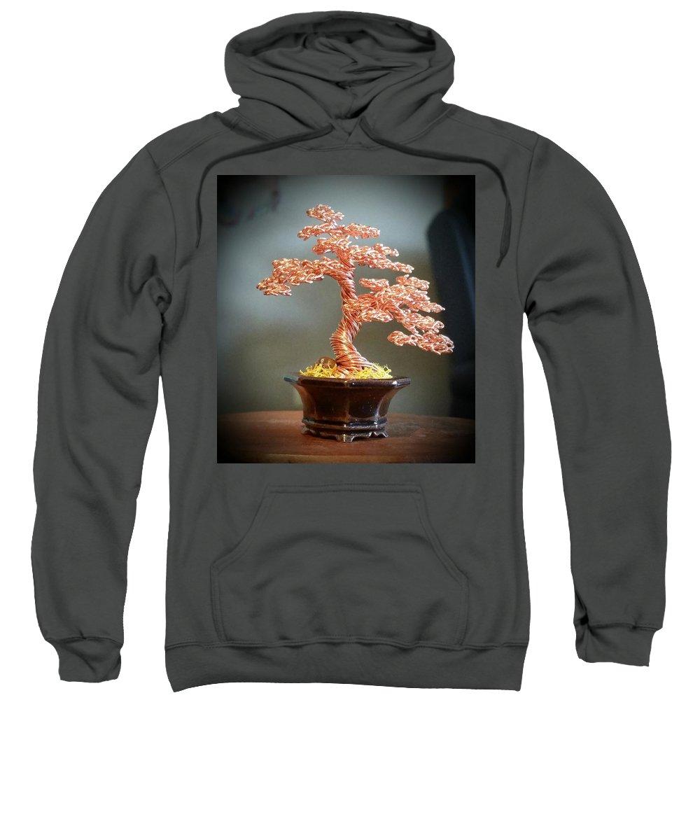 Bonsai Tree Sweatshirt featuring the sculpture #129 Copper Wire Tree Sculpture by Ricks Tree Art