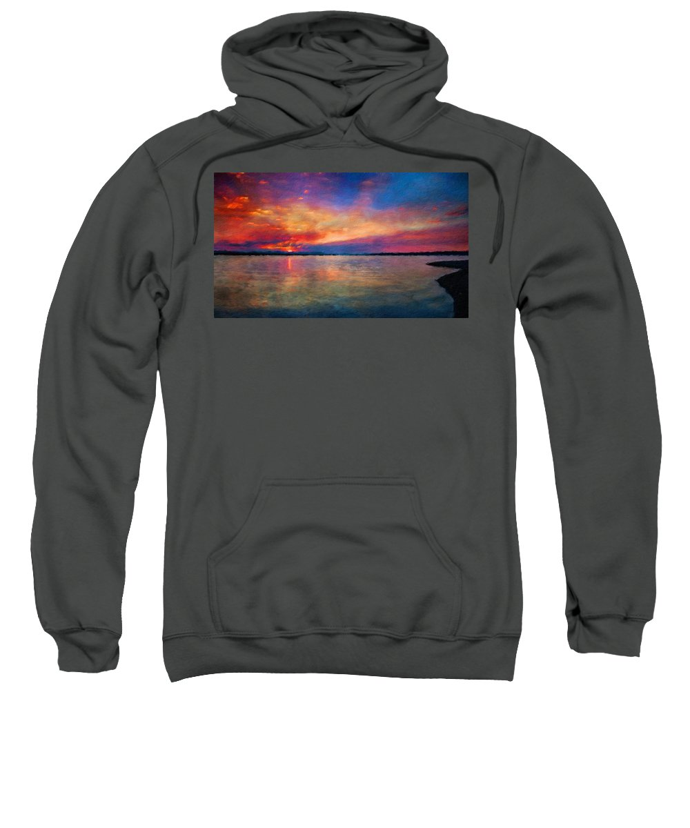 Landscape Sweatshirt featuring the painting Nature Landscape Light by World Map