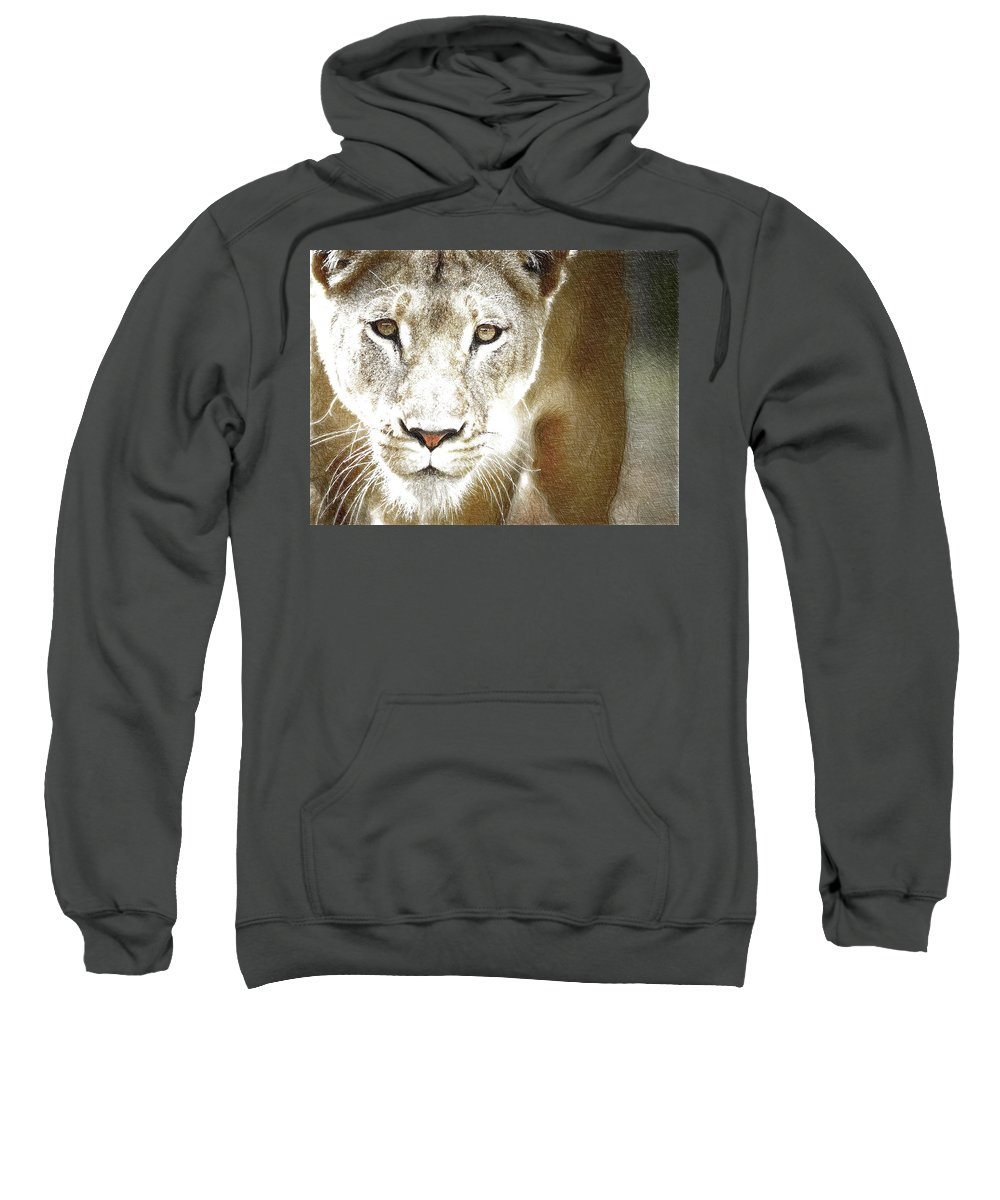 Lioness Sweatshirt featuring the digital art Lioness by Nadezhda Zhuravleva