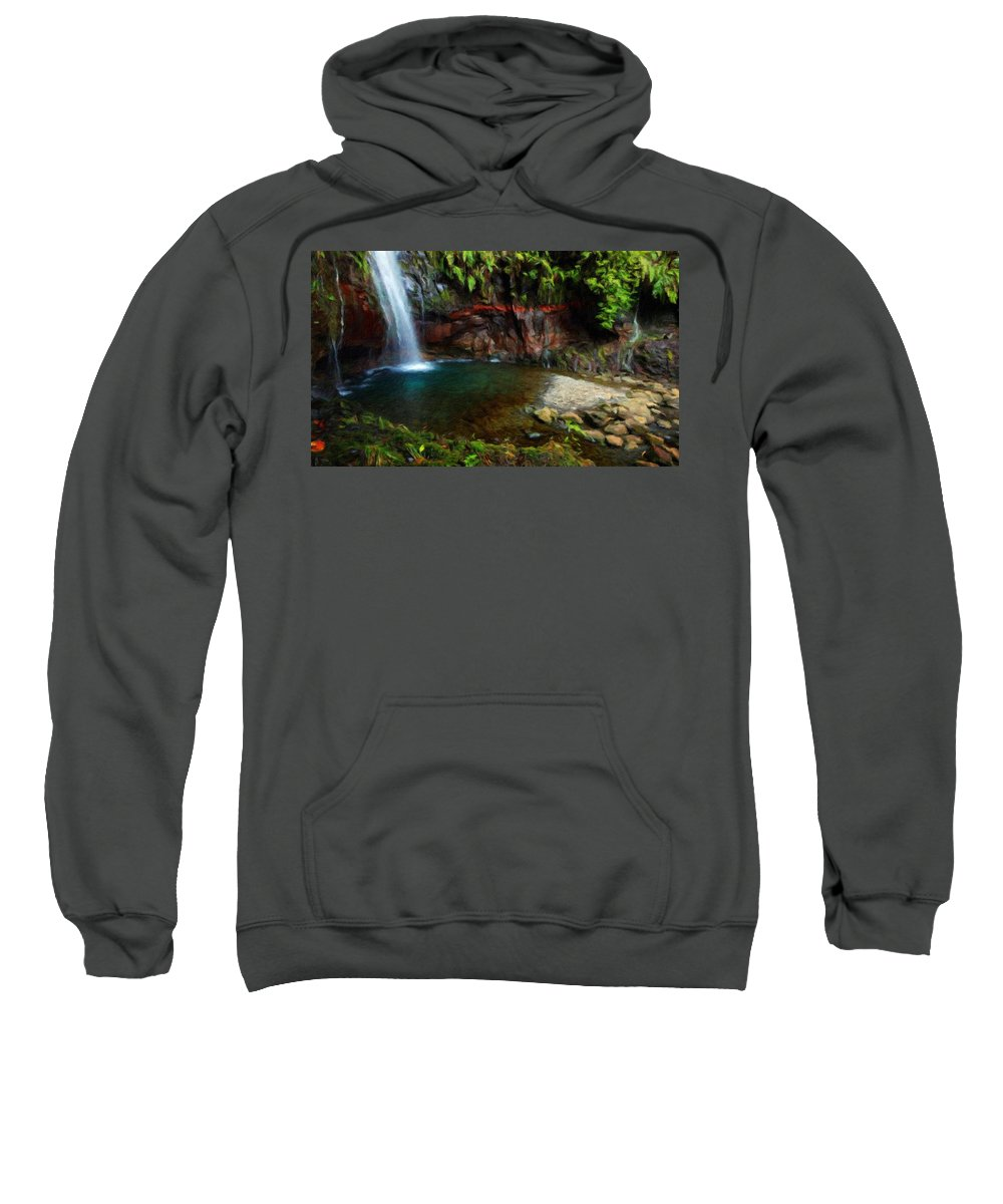 Landscape Sweatshirt featuring the painting Nature Oil Painting Landscape Images by World Map
