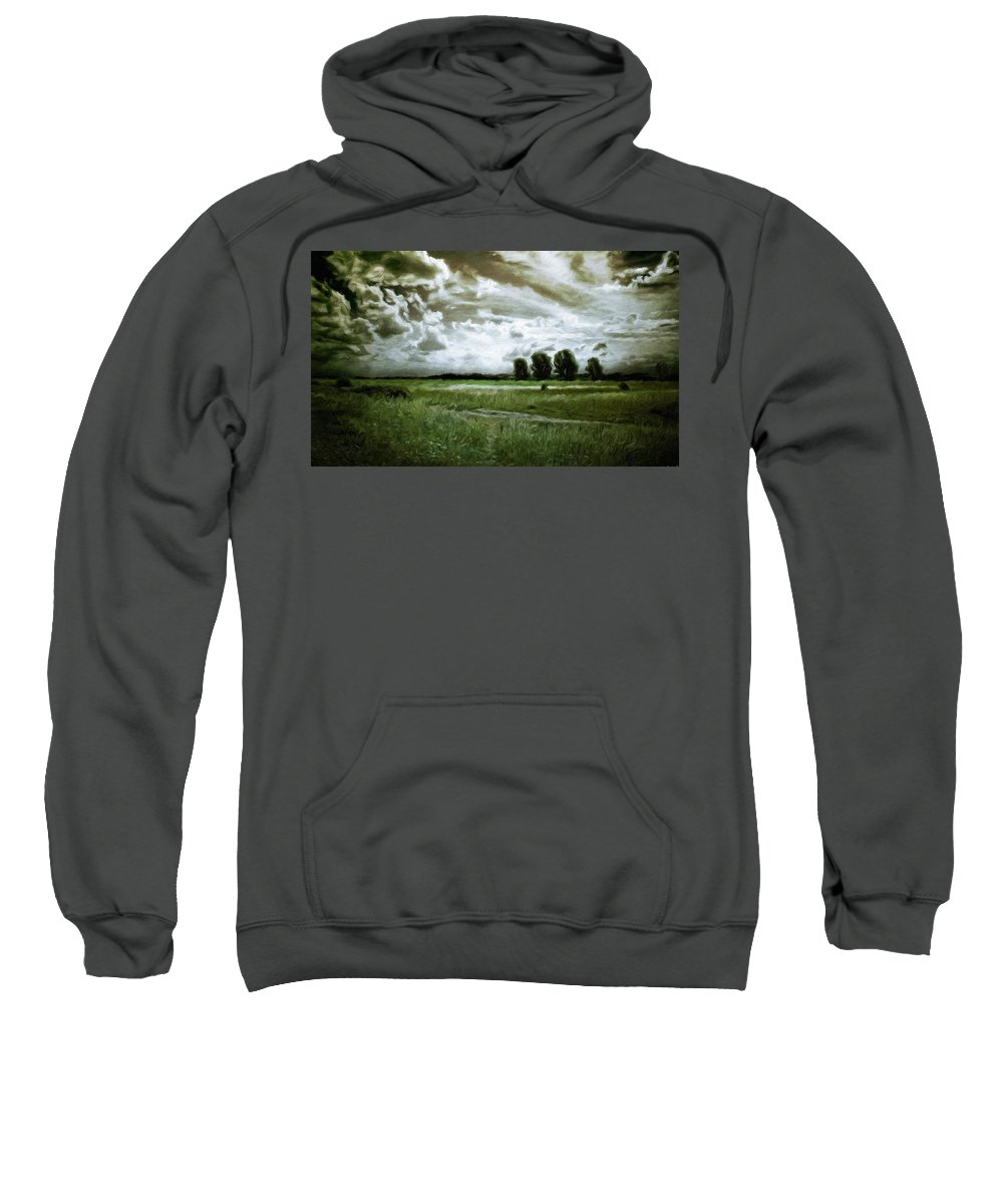 Landscape Sweatshirt featuring the painting Landscape Oil Painting Nature by World Map