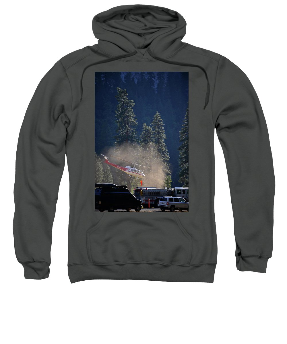 Yosemite Sweatshirt featuring the photograph Climber Rescue Operation In Yosemite by Nano Calvo