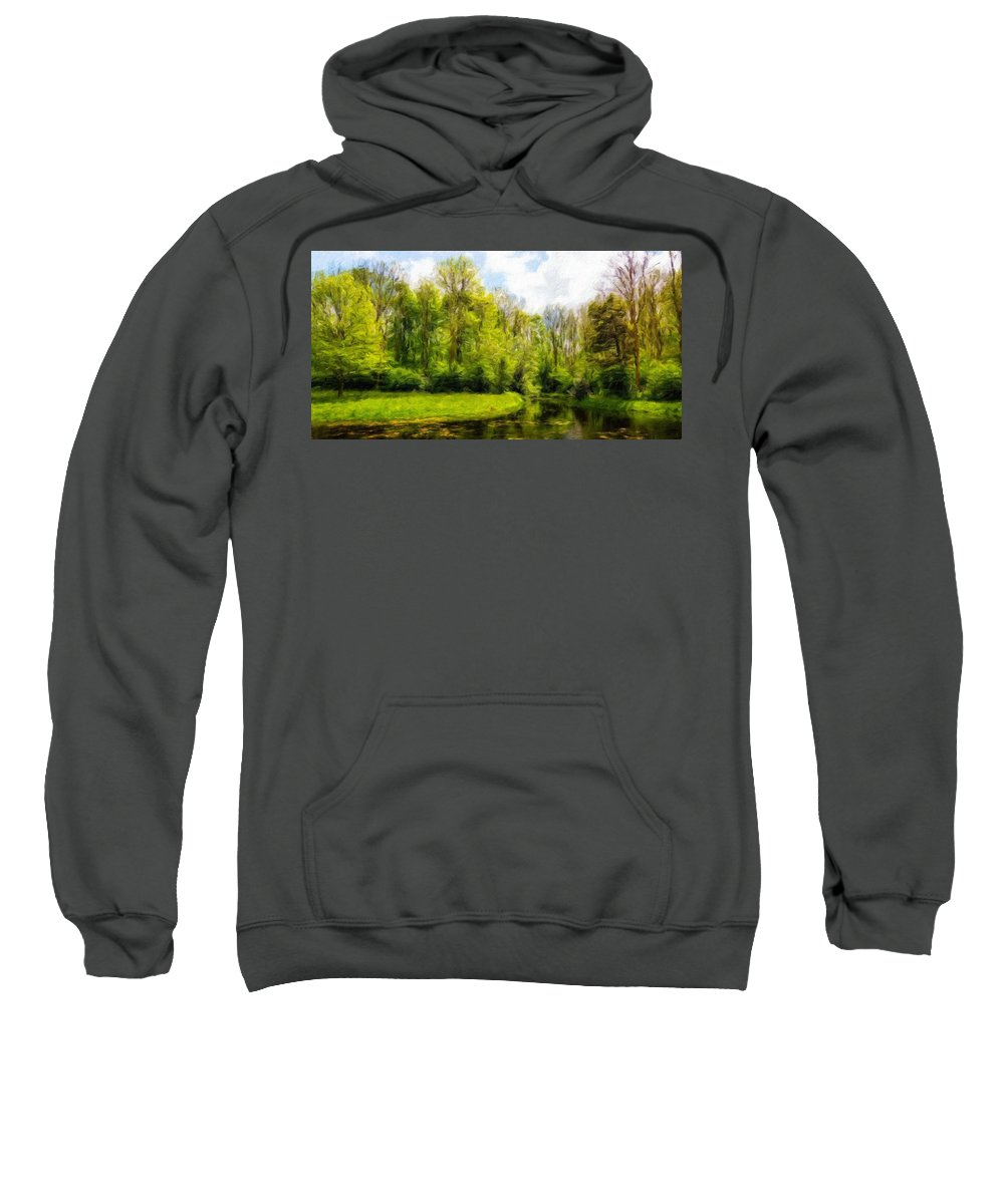 Landscape Sweatshirt featuring the painting Nature Landscape Lighting by World Map