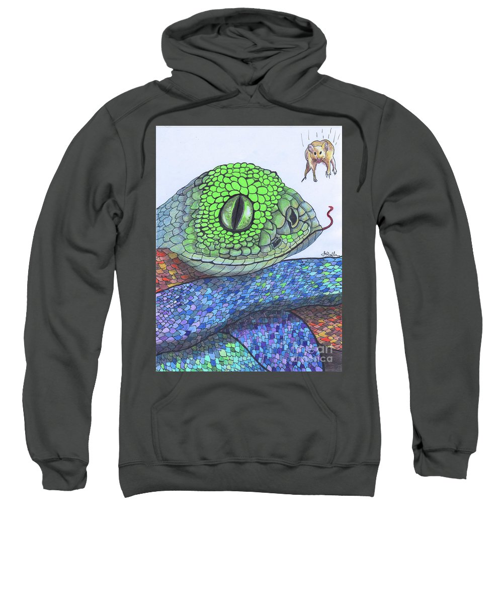 Eye Sweatshirt featuring the drawing 142 - So Far, So Good by James D Waller