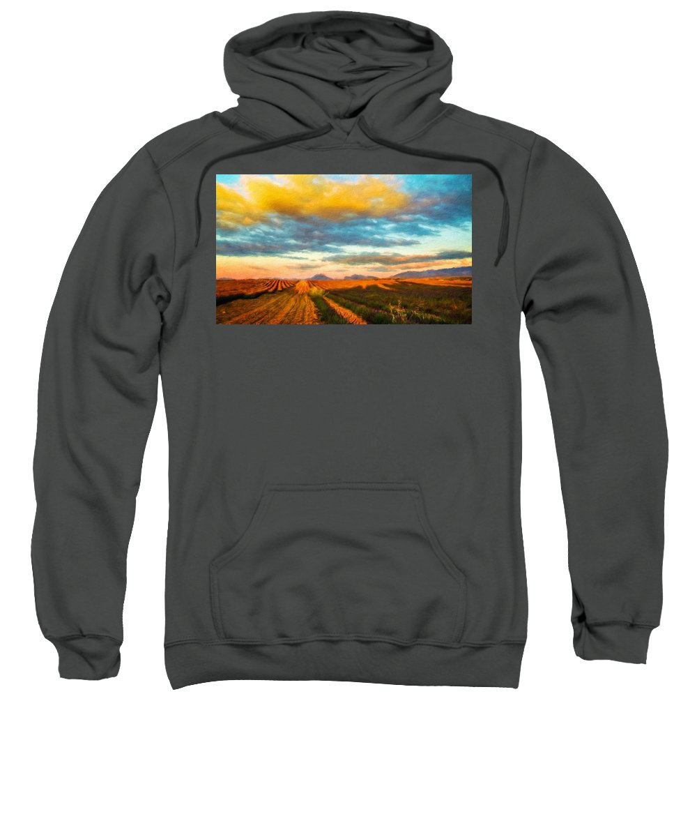 Landscape Sweatshirt featuring the painting Landscape Drawing Nature by World Map