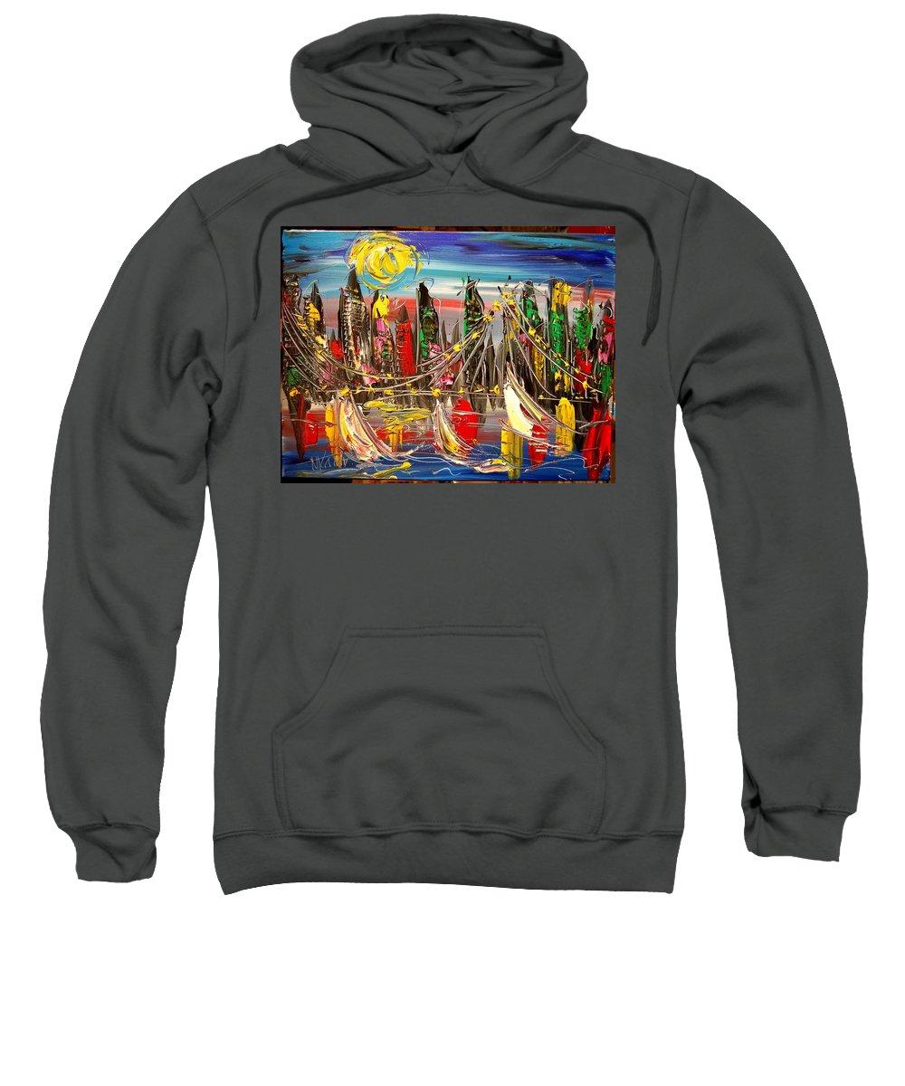 New York Sweatshirt featuring the painting New York by Mark Kazav