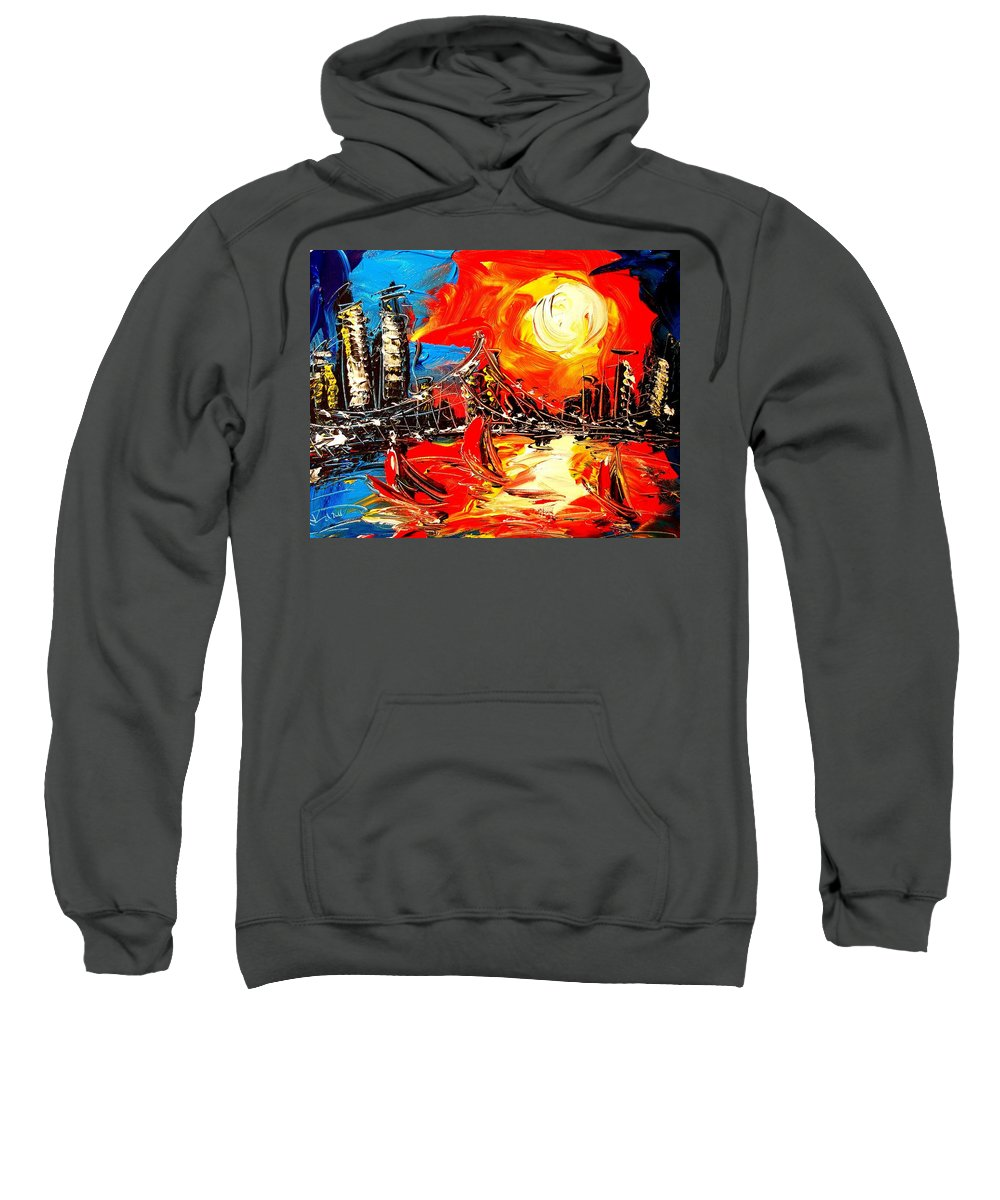 Surreal Framed Prints Sweatshirt featuring the painting City by Mark Kazav
