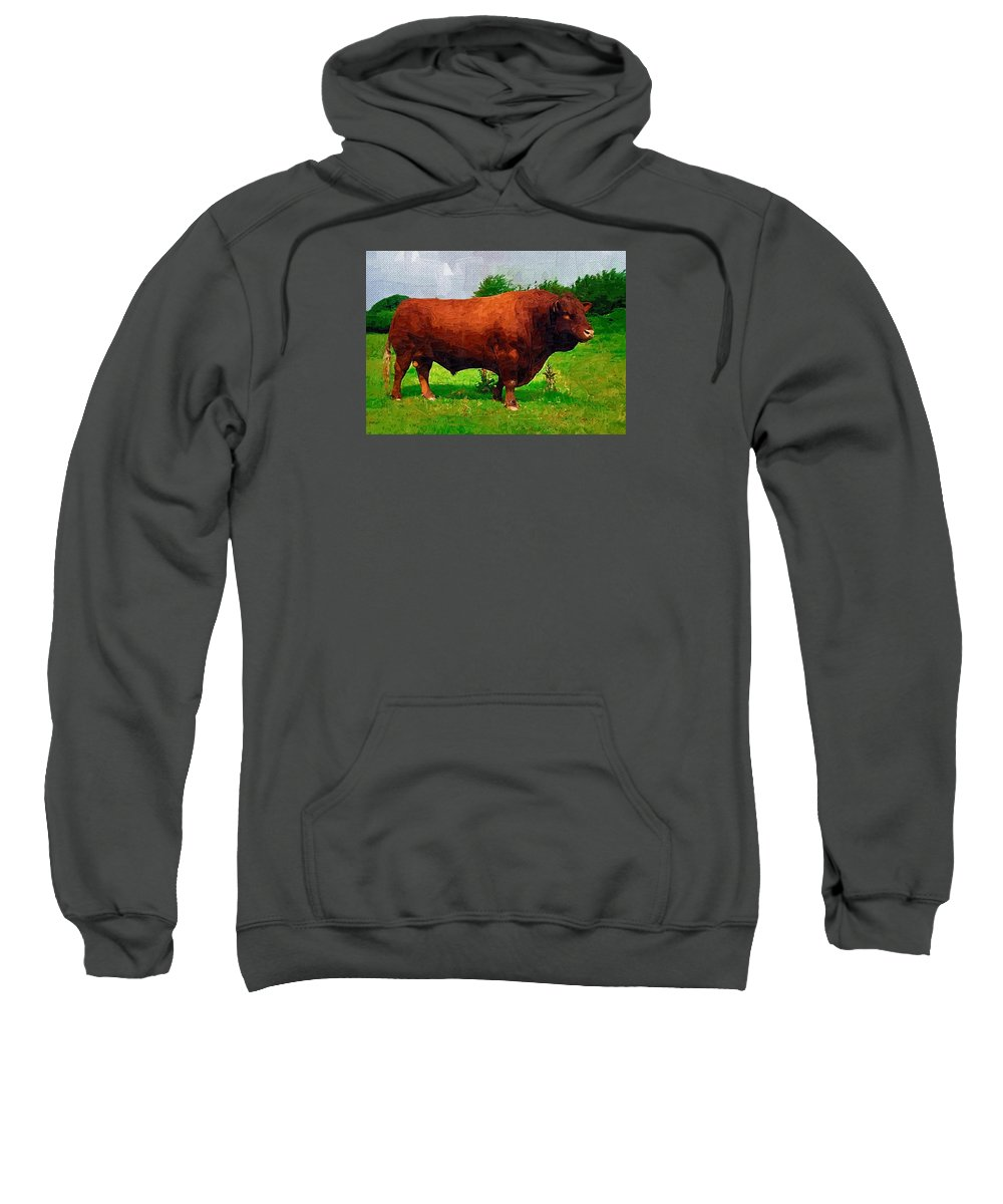 Cow Sweatshirt featuring the digital art Cow by Nadezhda Zhuravleva