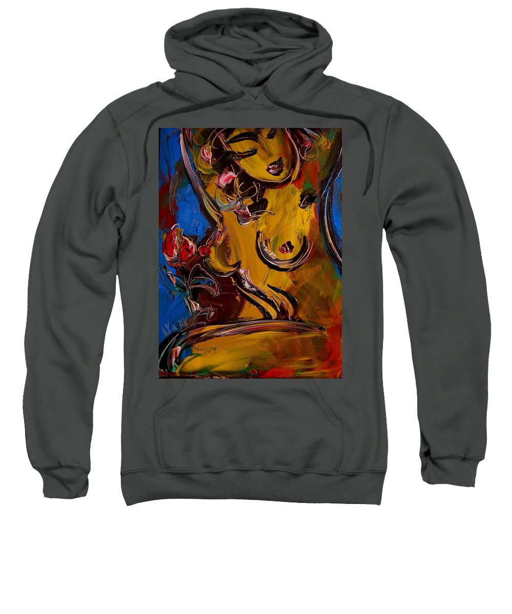 Surreal Framed Prints Sweatshirt featuring the painting Nude by Mark Kazav