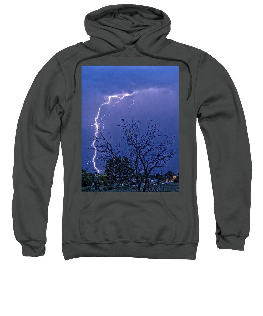 Lightning Sweatshirt featuring the photograph 17 Street To Hygiene Lightning Strike. by James BO Insogna