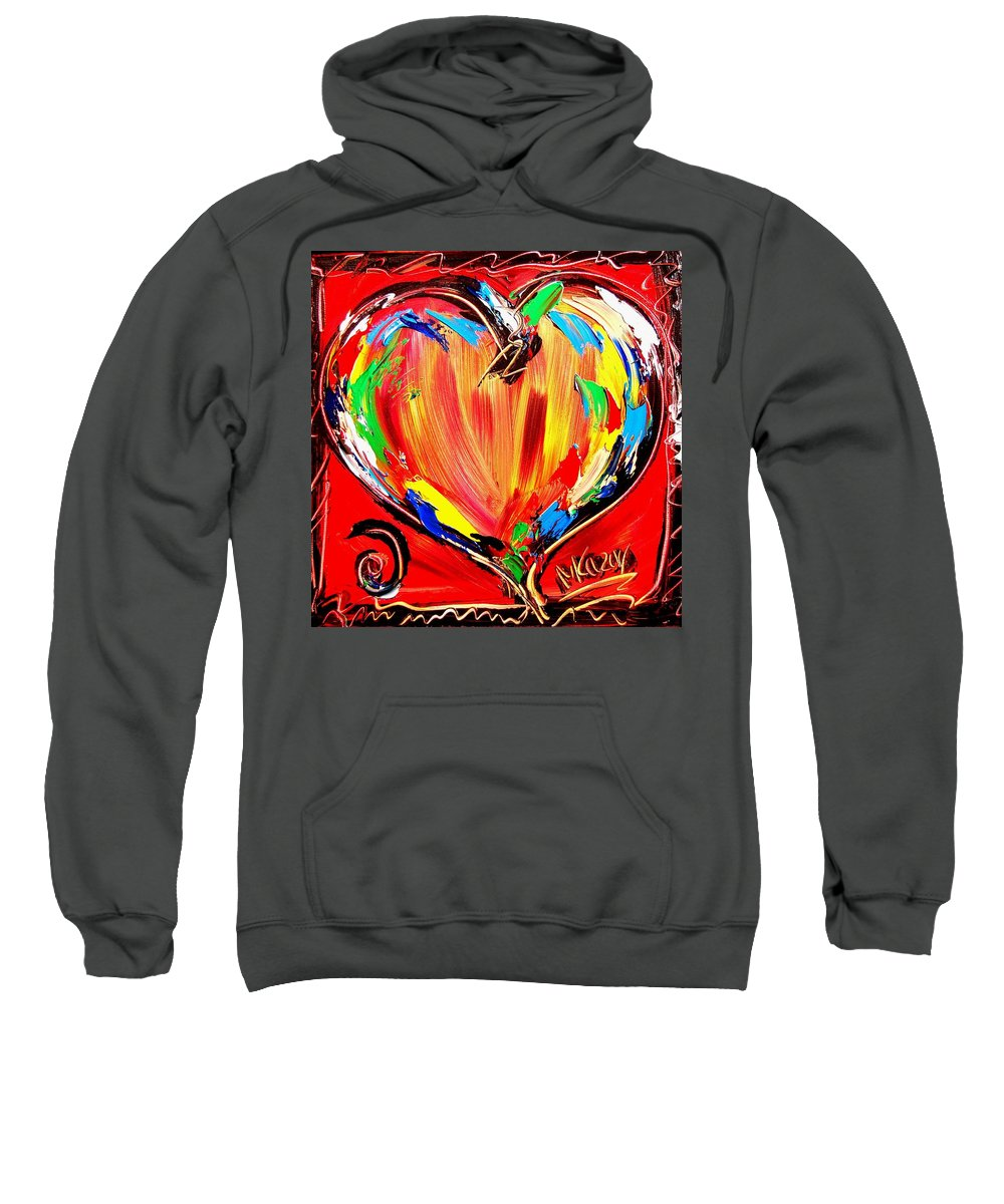 Kazav Framed Prints Sweatshirt featuring the painting Hearts by Mark Kazav
