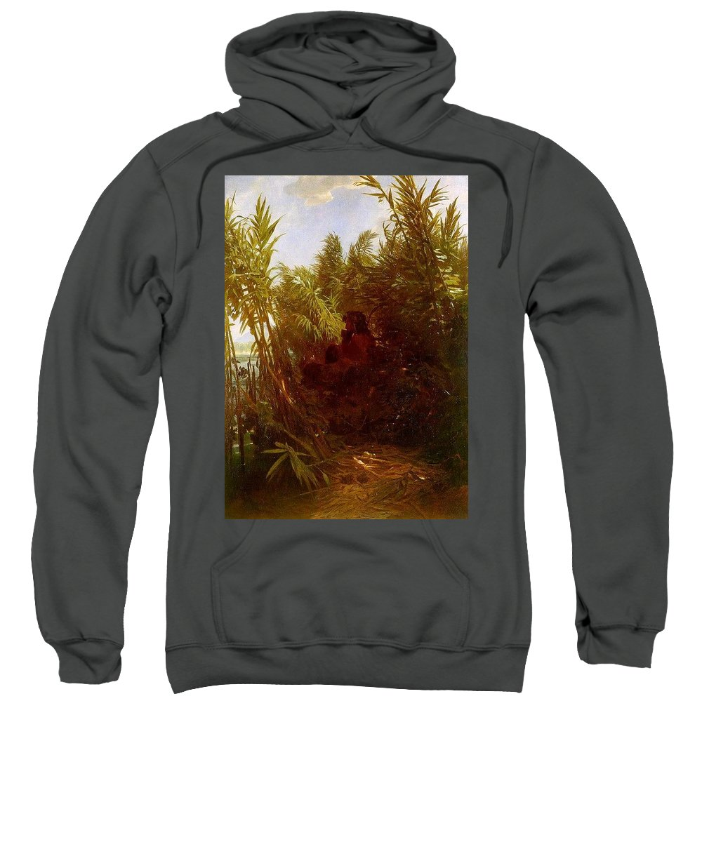 Tree Sweatshirt featuring the digital art 1856-57 Pan Amongst The Reeds Arnold Bcklin by Eloisa Mannion