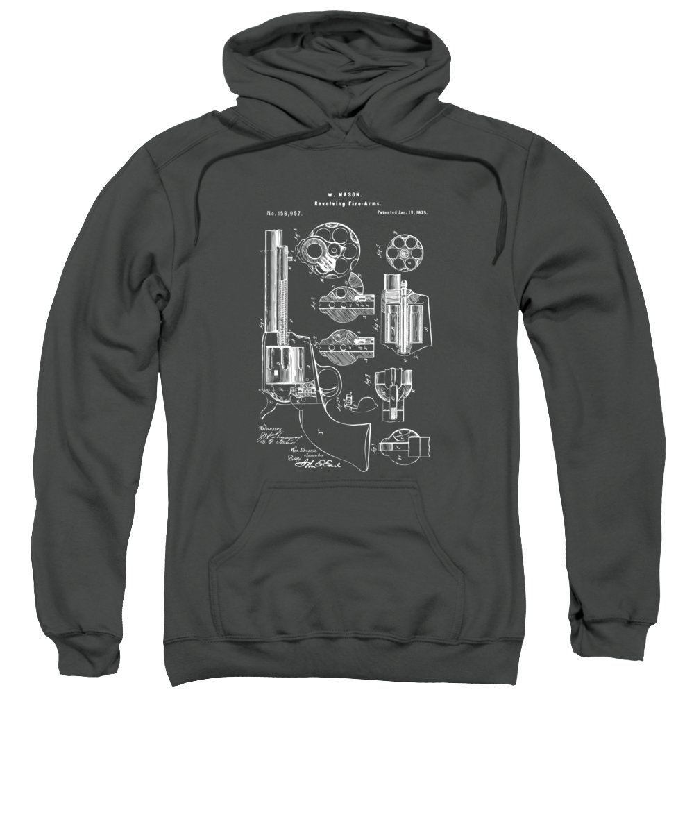 Colt 45 Sweatshirt featuring the digital art 1875 Colt Peacemaker Revolver Patent Red by Nikki Marie Smith