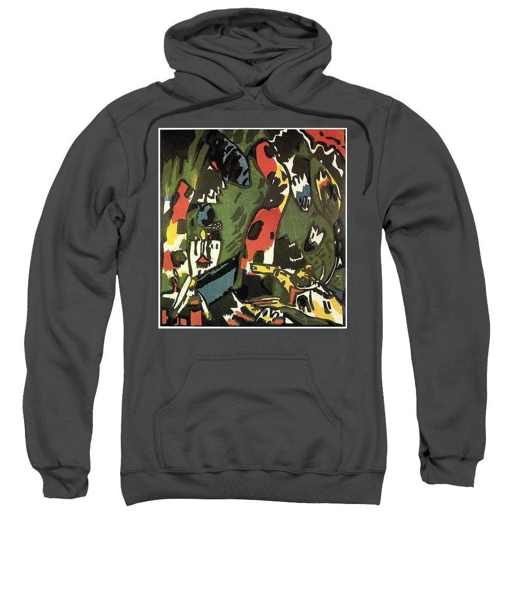 Graffito Sweatshirt featuring the digital art 1909 Vasily Kandinsky by Eloisa Mannion