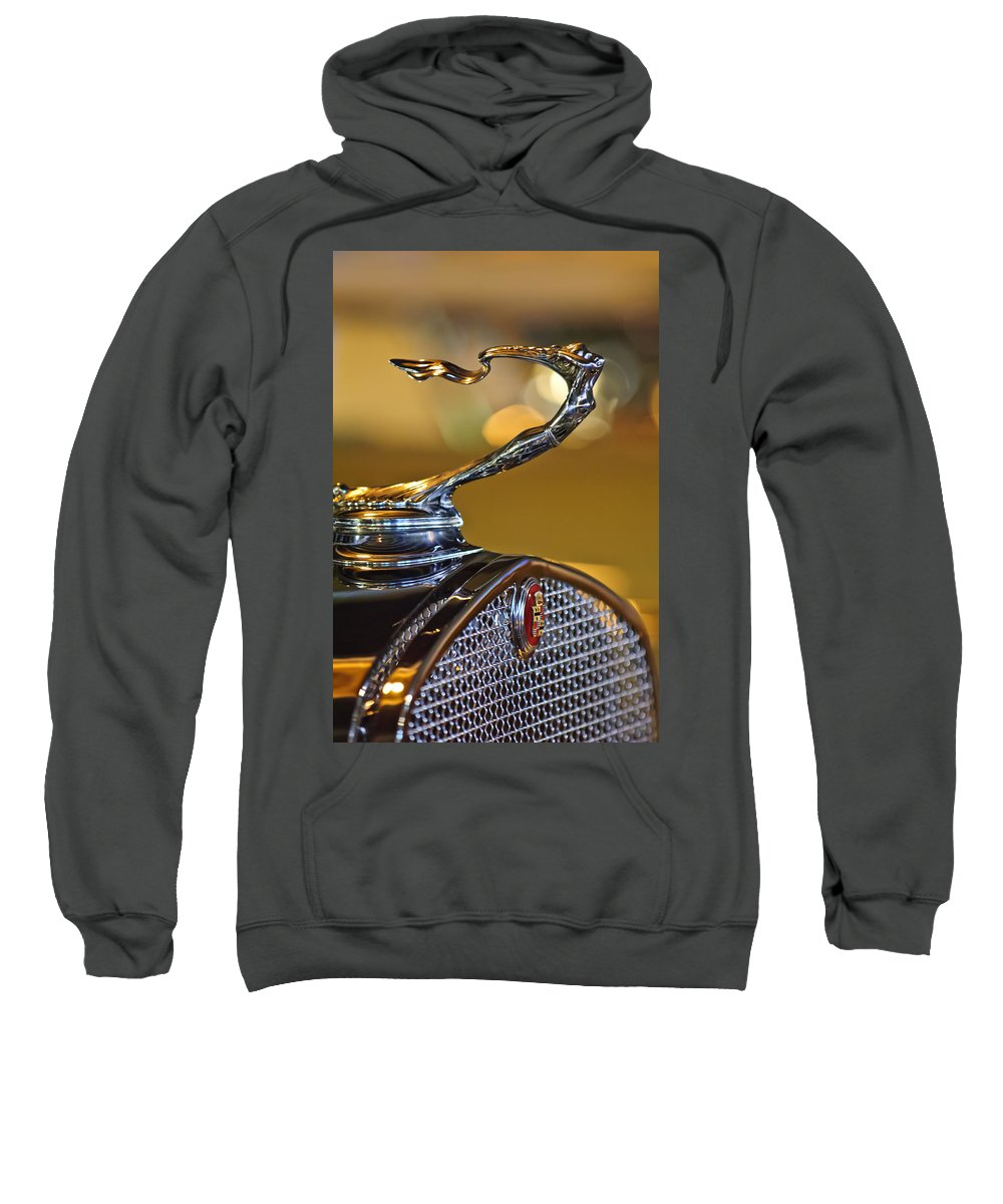 1930 Cadillac V-16 Roadster Sweatshirt featuring the photograph 1930 Cadillac Roadster Hood Ornament by Jill Reger