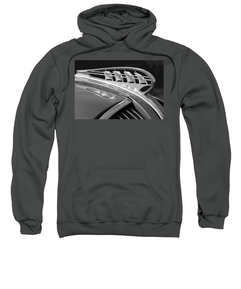 1938 Plymouth Sweatshirt featuring the photograph 1938 Plymouth Hood Ornament 2 by Jill Reger