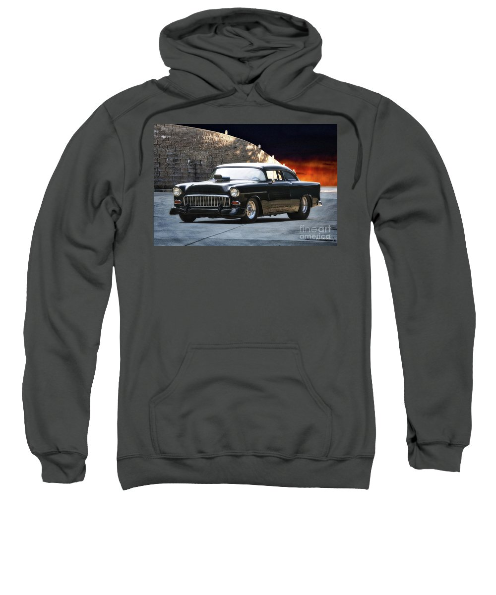 Auto Sweatshirt featuring the photograph 1955 Chevrolet Coupe 'sinister Chevy' by Dave Koontz