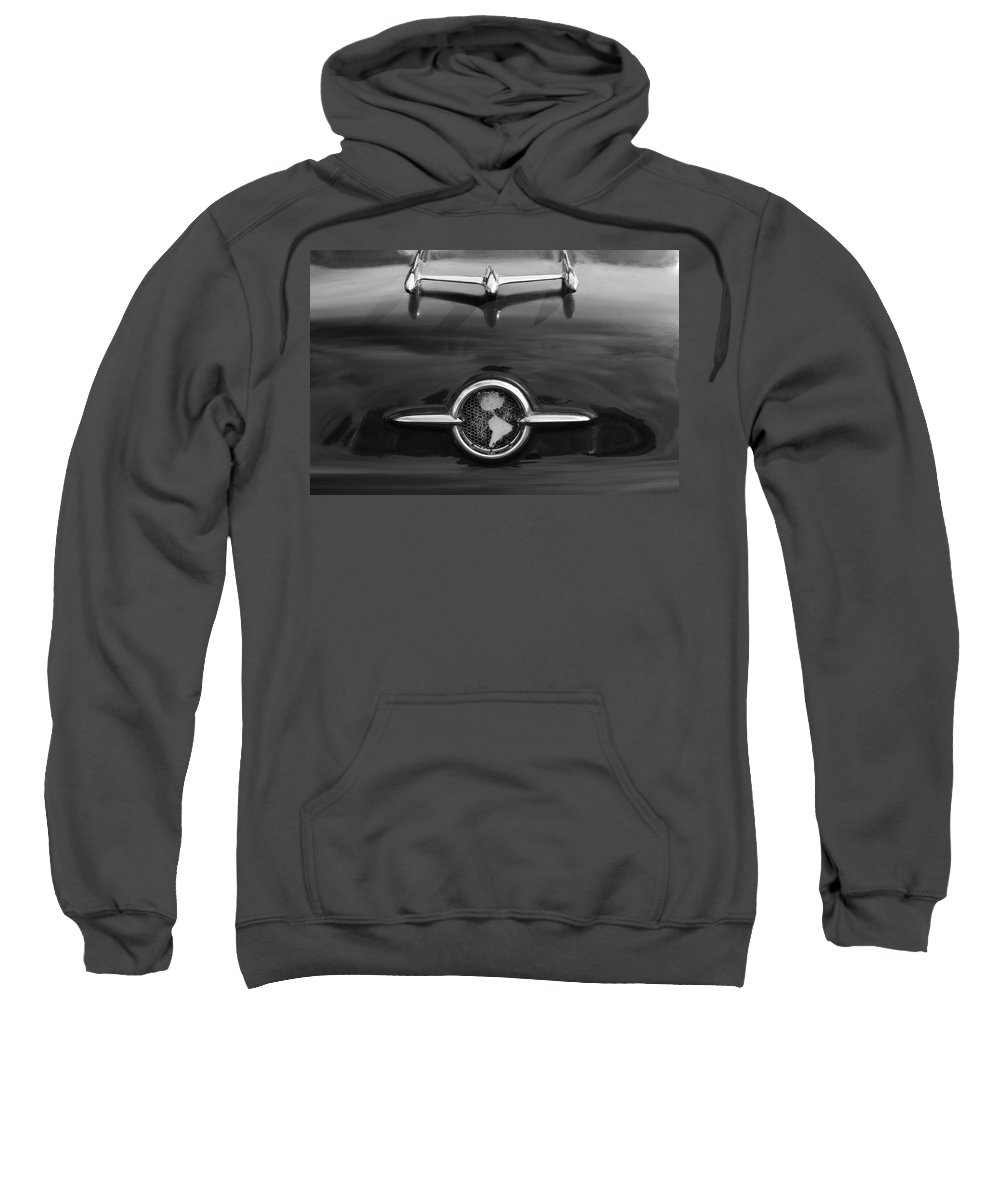 1955 Oldsmobile Holiday 88 Sweatshirt featuring the photograph 1955 Oldsmobile Holiday 88 Hood Ornament 2 by Jill Reger