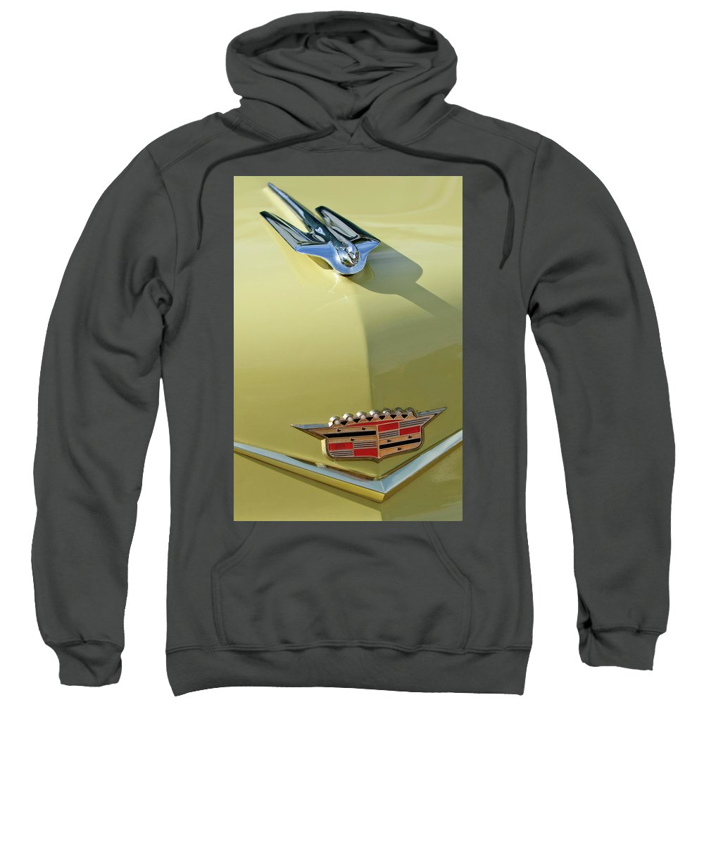 1956 Cadillac Sedan Sweatshirt featuring the photograph 1956 Cadillac Sedan Deville Hood Ornament by Jill Reger