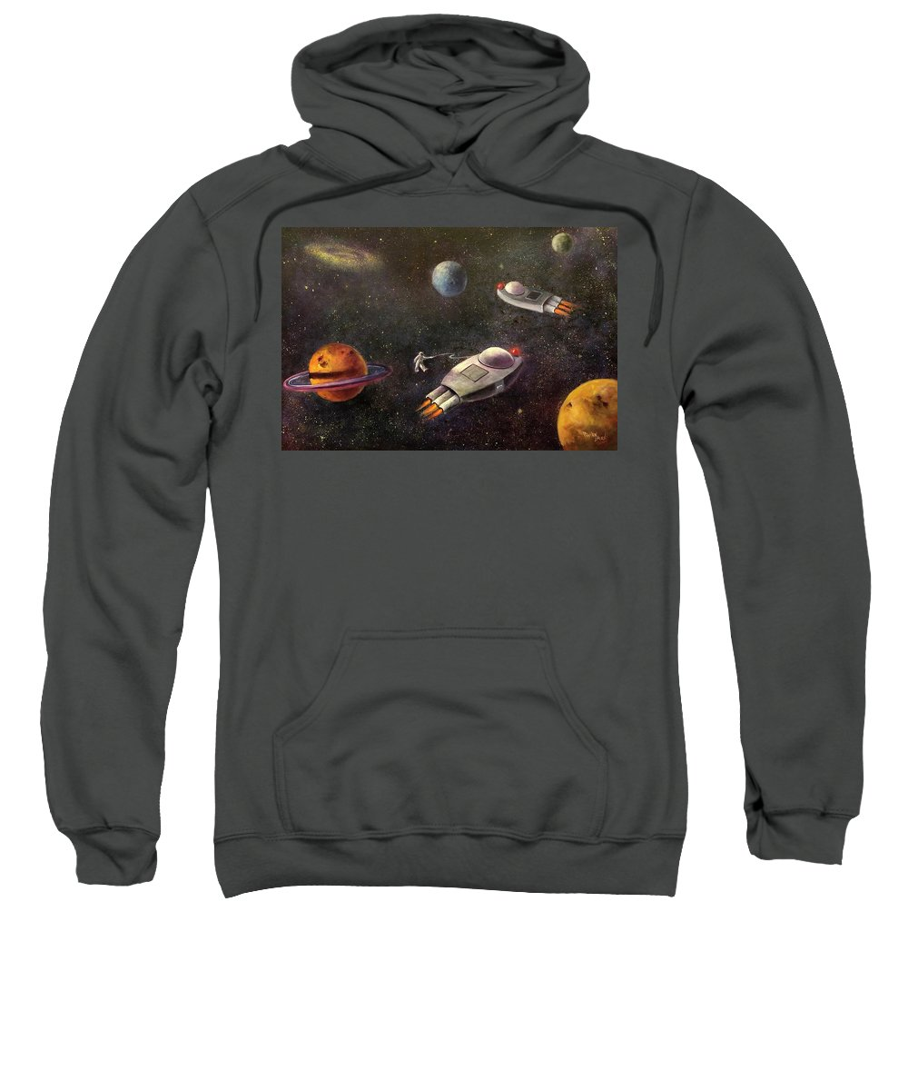 Outer Space Sweatshirt featuring the painting 1960s Outer Space Adventure by Randy Burns