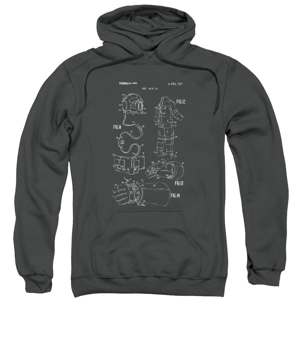 Space Suit Sweatshirt featuring the digital art 1973 Space Suit Elements Patent Artwork - Gray by Nikki Marie Smith