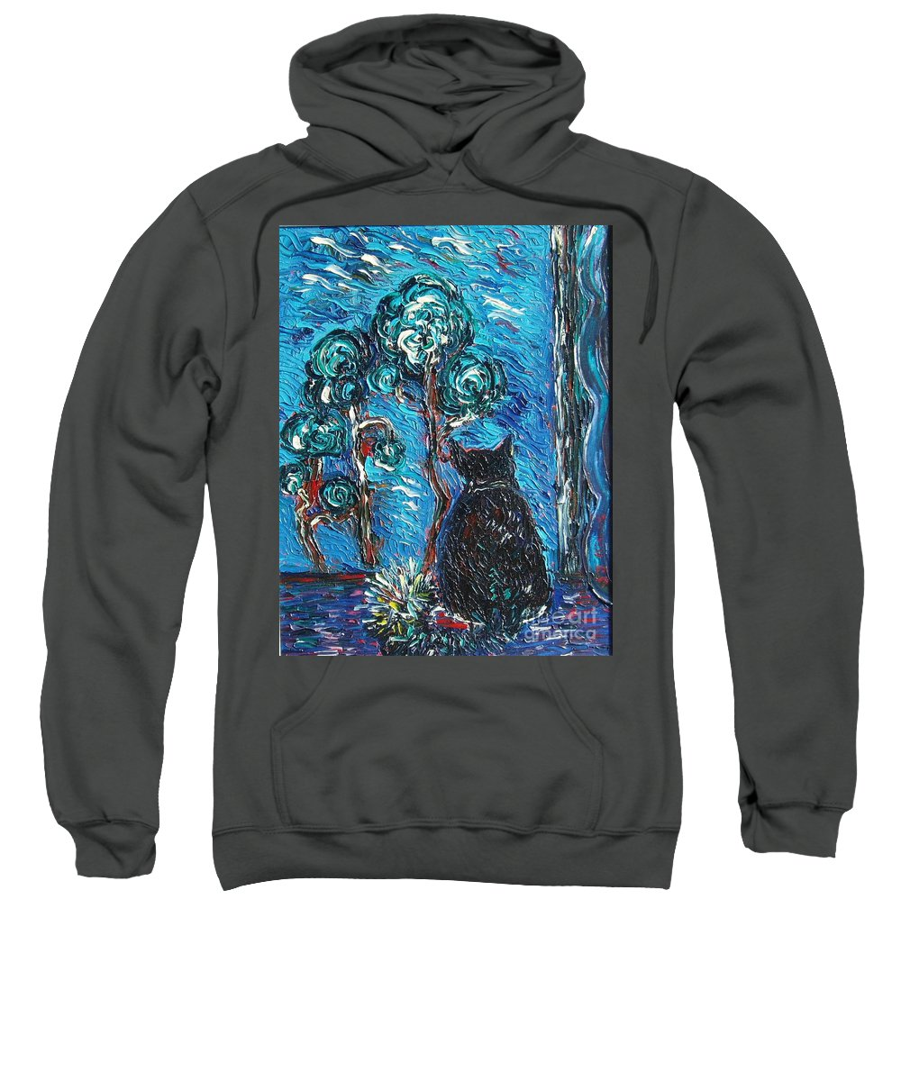 Cat Paintings Sweatshirt featuring the painting A Black Cat by Seon-Jeong Kim
