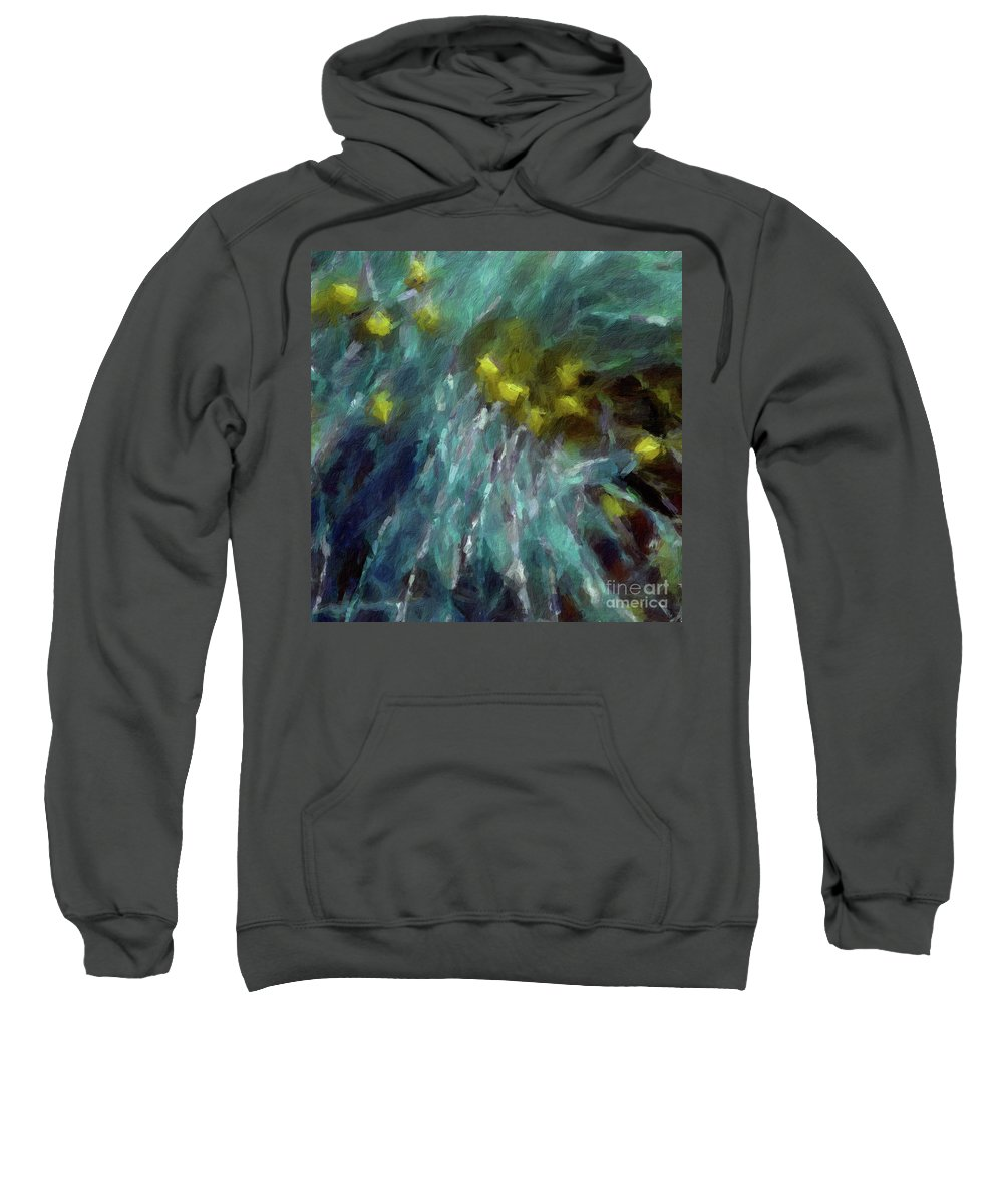 Brushstroke Sweatshirt featuring the digital art Abstract 92 Digital Oil Painting On Canvas Full Of Texture And Brig by Amy Cicconi