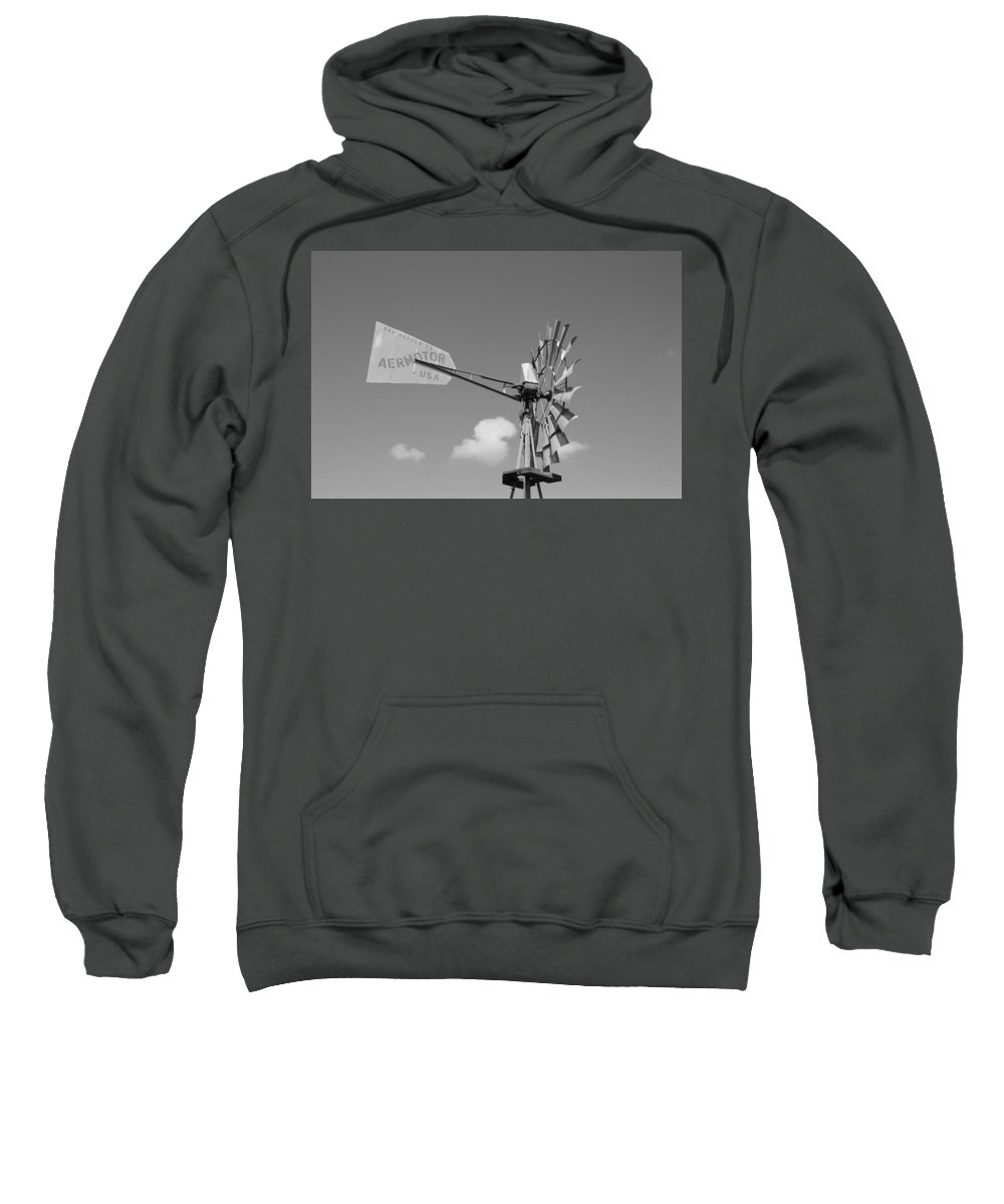 Black And White Sweatshirt featuring the photograph Aermotor Windmill by Rob Hans