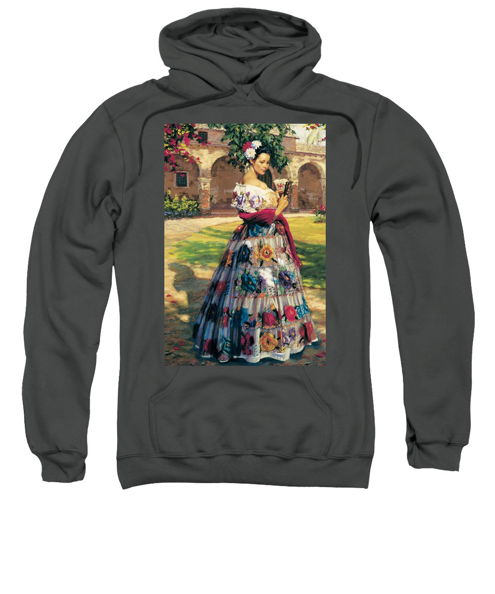 Figure Sweatshirt featuring the painting Al Aire Libre by Jean Hildebrant