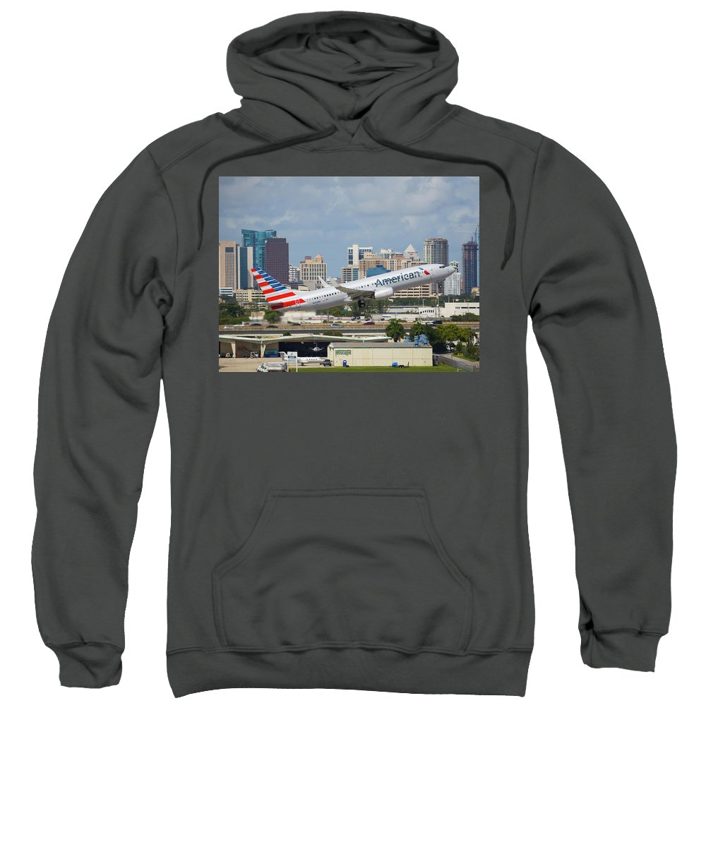 American Sweatshirt featuring the photograph American Airlines by Dart and Suze Humeston