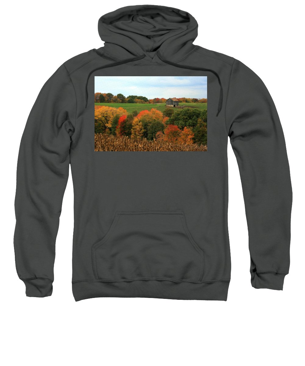 Affordable Sweatshirt featuring the photograph Barn On Autumn Hillside A Seasonal Perspective Of A Quiet Farm Scene by Angela Rath
