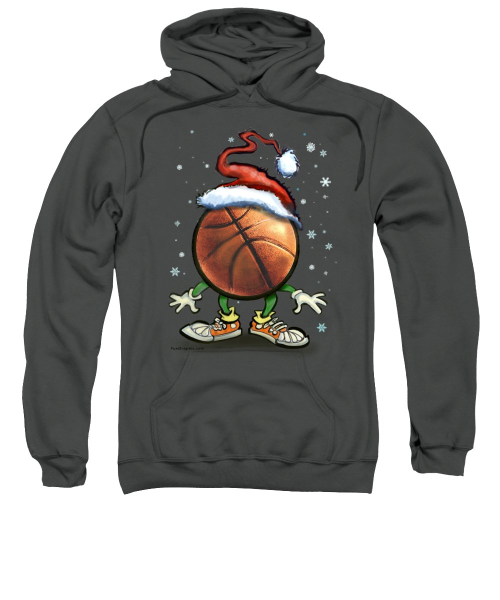 Basketball Sweatshirt featuring the digital art Basketball Christmas by Kevin Middleton