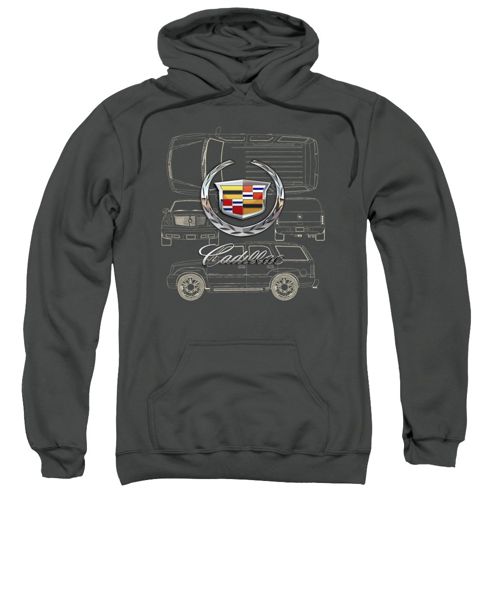 'wheels Of Fortune' By Serge Averbukh Sweatshirt featuring the photograph Cadillac 3 D Badge Over Cadillac Escalade Blueprint by Serge Averbukh