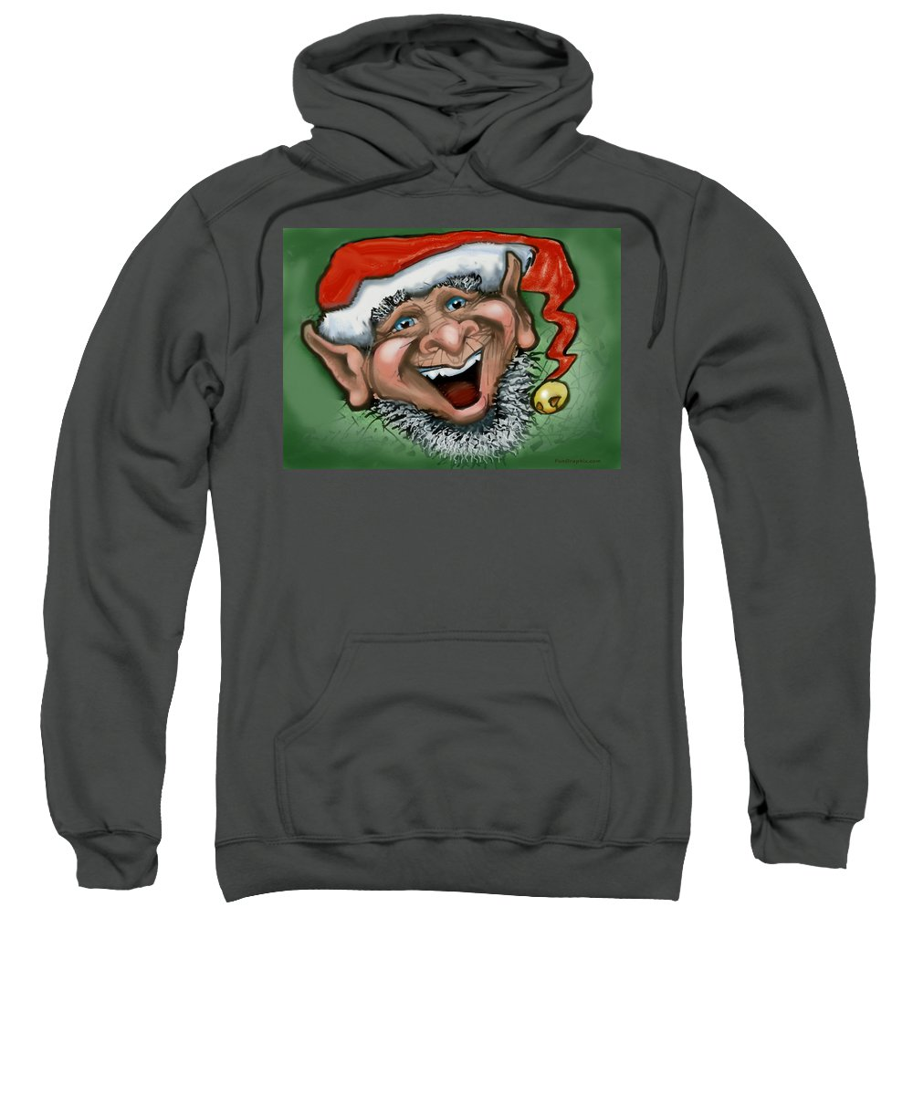 Christmas Sweatshirt featuring the greeting card Christmas Elf by Kevin Middleton
