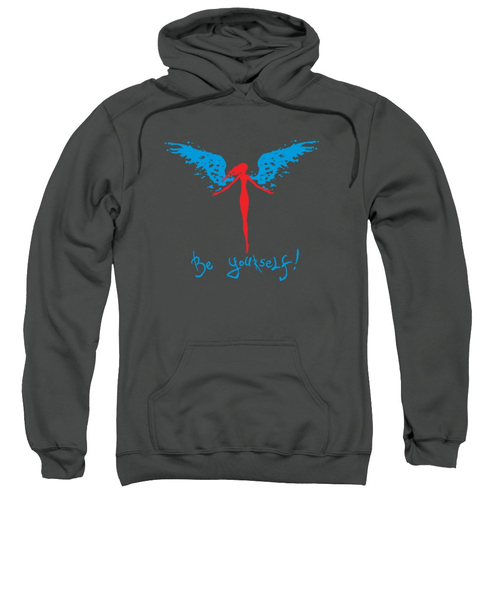 Girl Sweatshirt featuring the painting Girl With Angel Wings by Denis Simonov