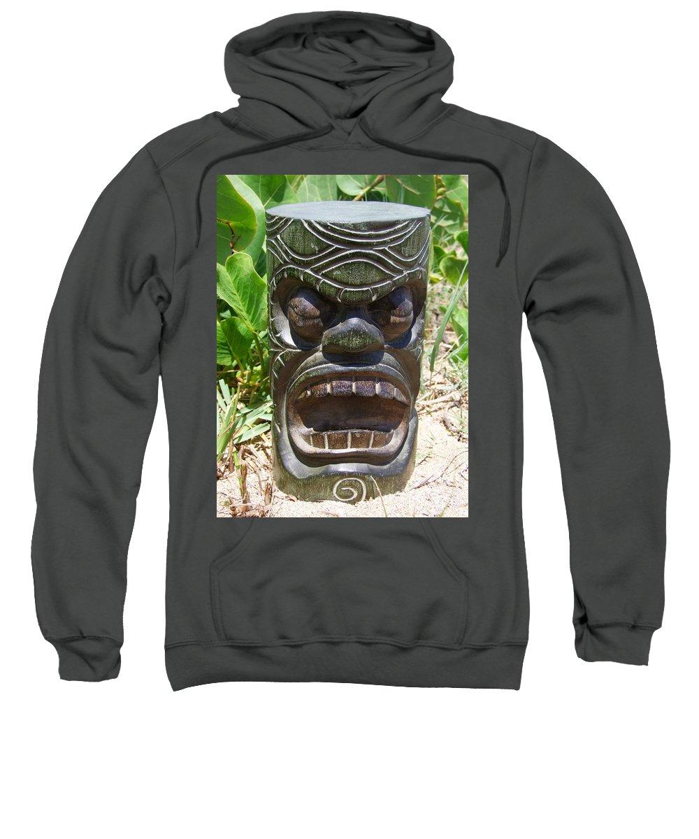 Mary Deal Sweatshirt featuring the photograph Hawaiian Tiki God Ku by Mary Deal