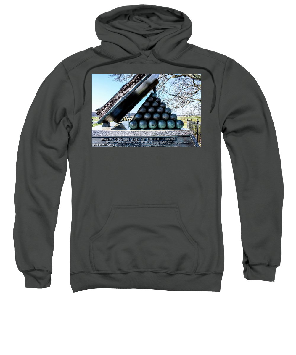 This Is A Side View Of The High Water Mark Monument At The Gettysburg Battlefield Sweatshirt featuring the photograph High Water Mark by William Rogers
