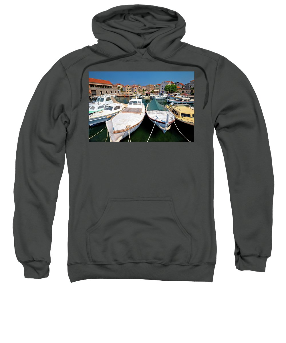 Prvic Sweatshirt featuring the photograph Island Of Prvic Harbor And Waterfront View In Sepurine Village by Brch Photography
