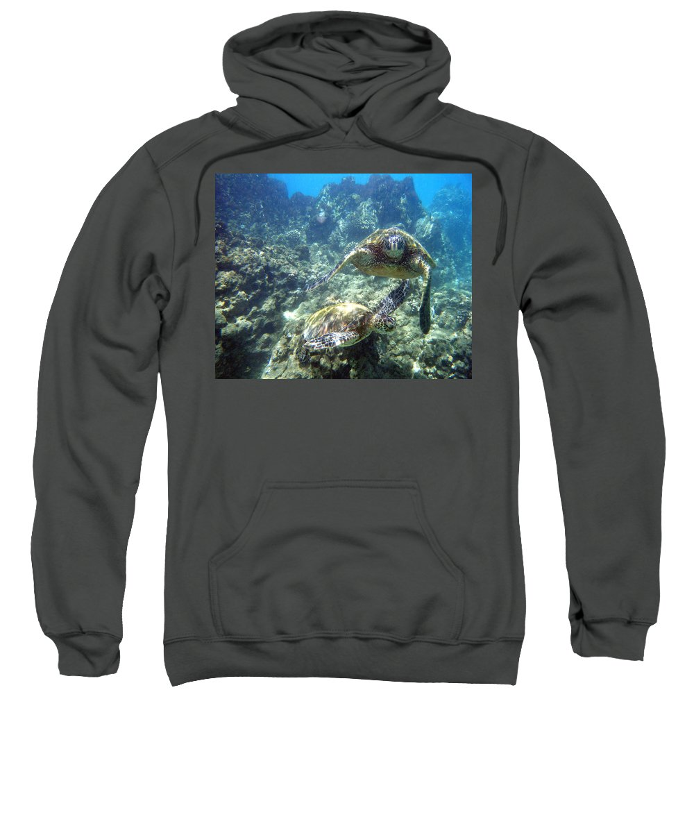 Sea Turtle Sweatshirt featuring the photograph Just The Two Of Us by Angie Hamlin