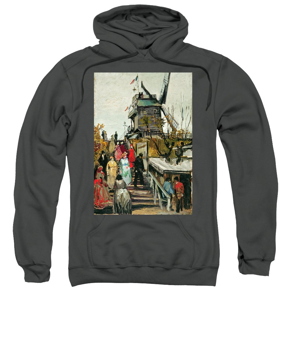 Van Gogh Sweatshirt featuring the painting Le Moulin De Blute-fin by Vincent van Gogh