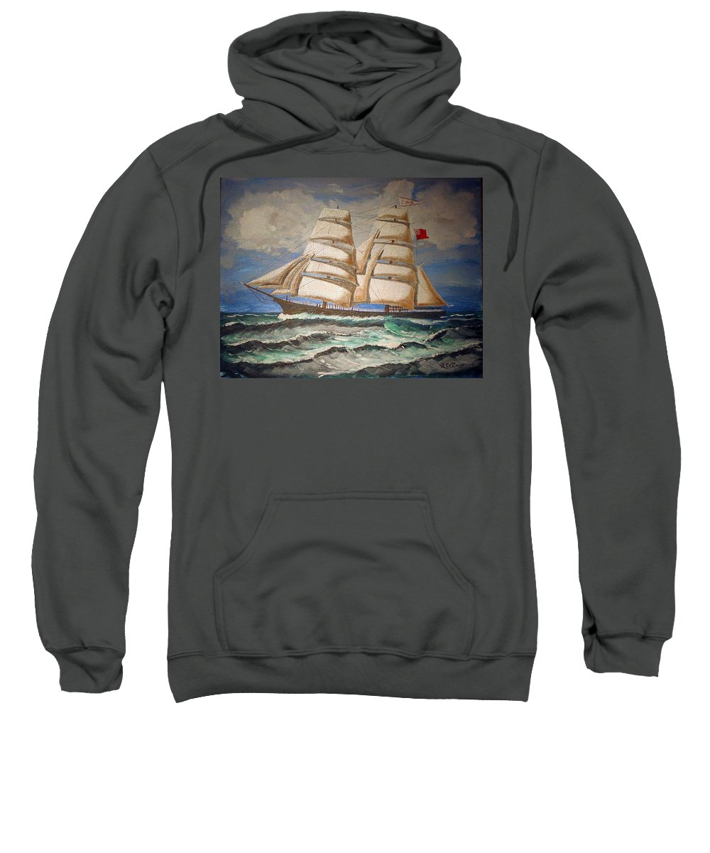 Tall Ship Sweatshirt featuring the painting 2 Master Tall Ship by Richard Le Page