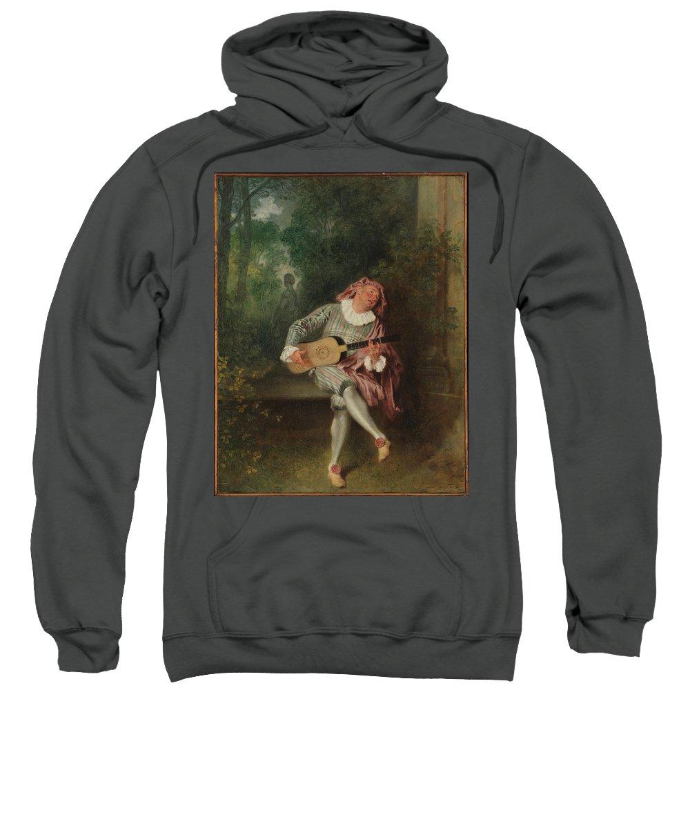Mezzetin Artist Antoine Watteau (french Sweatshirt featuring the painting Mezzetin by MotionAge Designs