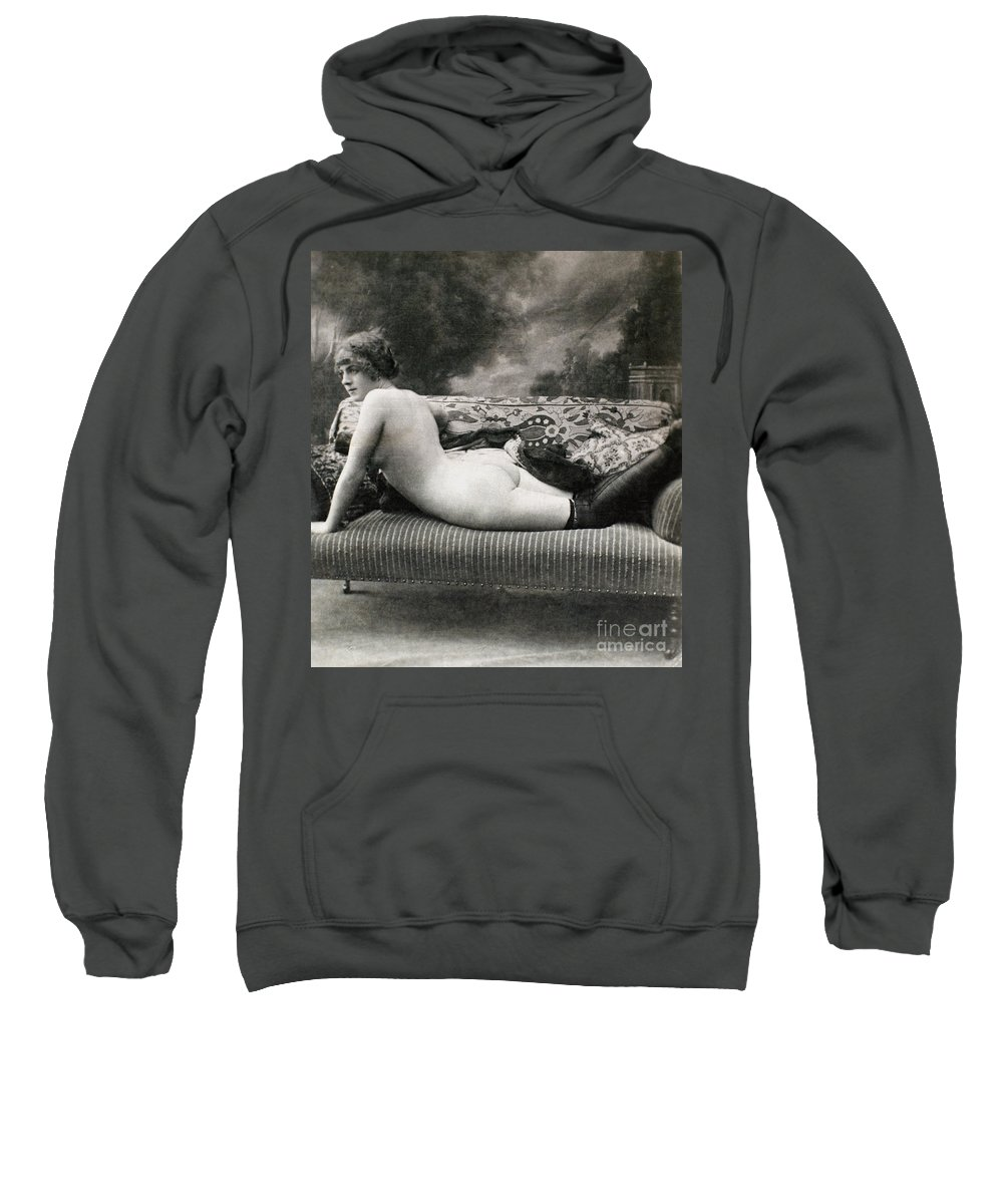 1900 Sweatshirt featuring the painting Nude Posing, C1900 by Granger